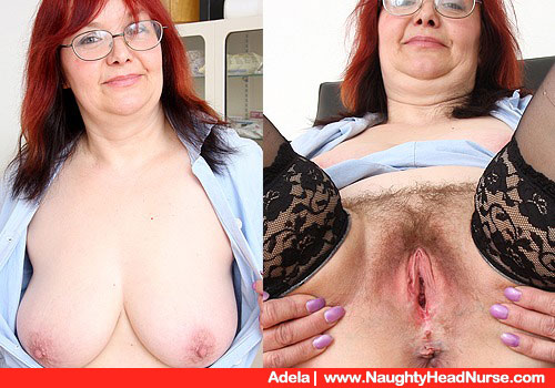Adela's black stockings cooter show