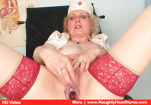 Big-breasted Registered nurse practitioner Mora in addition to Uniform and Red Hose