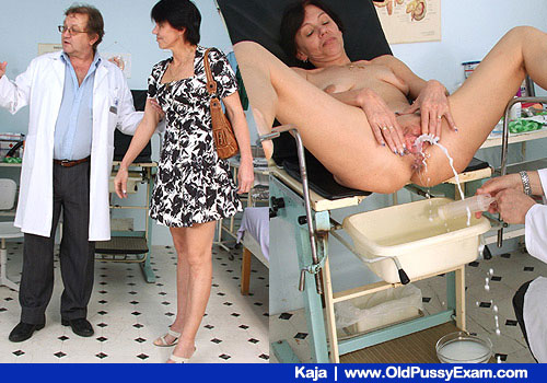 Brunette Kaja Undresses to Piss in a Gyno clinic Room