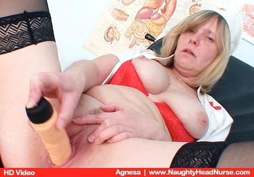Busty Nurse Agnesa Fucks Pussy with Dildo