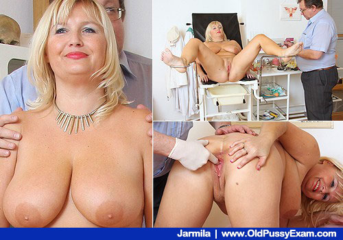 Busty Smiling Blondie Gets Twat Exam on Testing room Chair