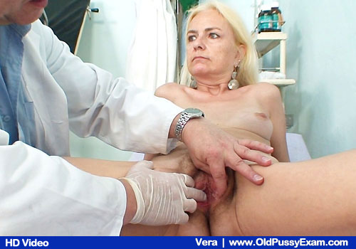 Elder Pale Vera Opens Legs to Get Examined by Medic
