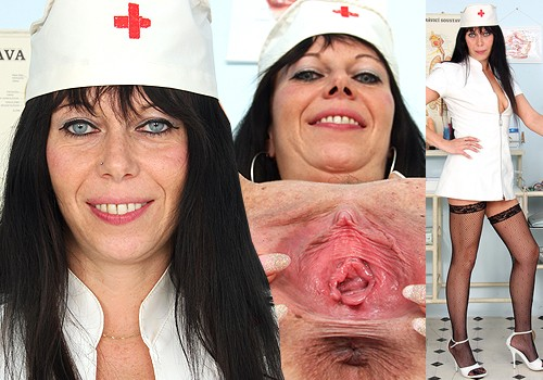 Ma'am Brunette Registered practical nurse Smiles and Shows Twat in Hosiery and Steep Heels