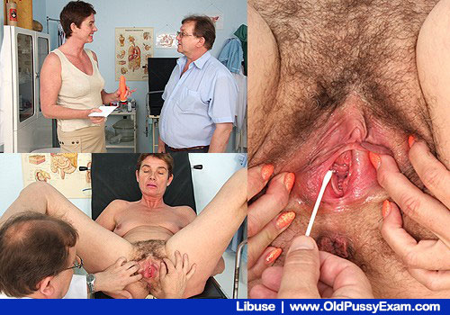 Matured Shorthaired Libuse Sits in Gyno gyno clinic Chair with Doc