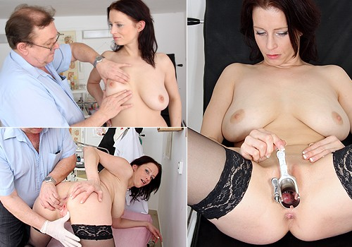 Natural Bosomy Brunette Gets Tits and Minge Examined by Doctor