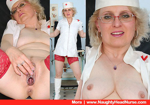 Natural Busty Nurse Mora in Costume and Boots with High Heels