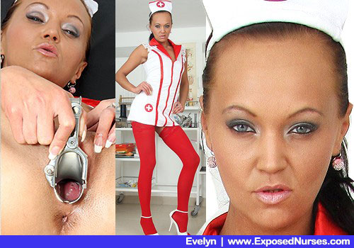 Skimpy Woman in Nurse Costume, Carmine Stockings and Steep Heels