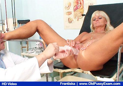 Slender Blond-haired Frantiska with Skinny Boobies Opens Legs