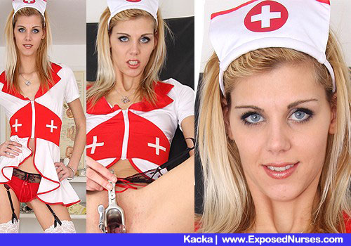 Slender Blond Nurse Takes off Underwear and Toys herself her pussy