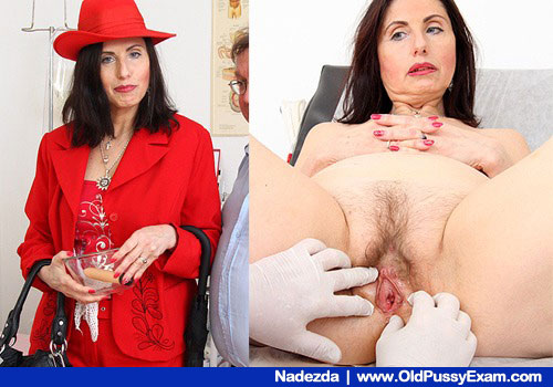 The wifey in red taking the gyno examination